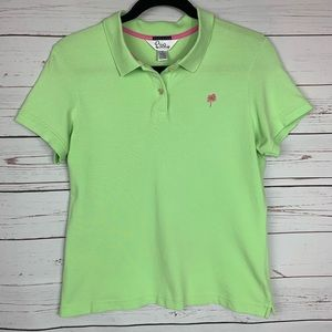 Lilly Pulitzer Polo - Classic Green w/ Pink Palm